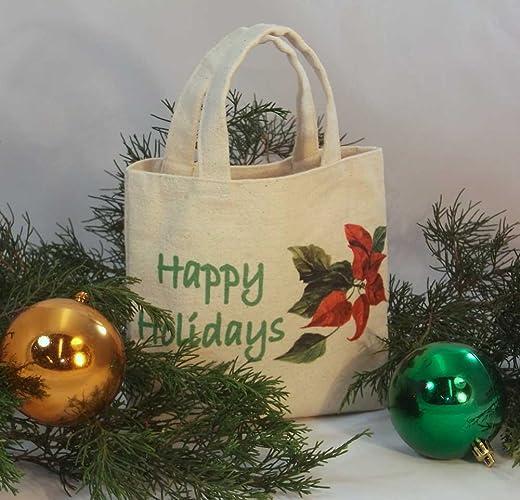 Amazon.com: CHRISTMAS GIFT BAG Tiny Mini Tote Reusable Gift Bag ...