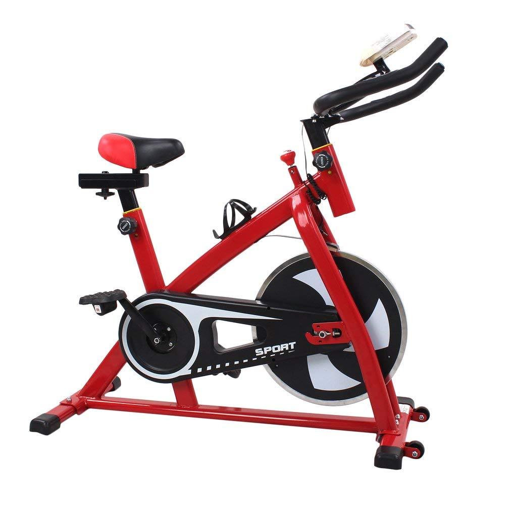 Schwarzpoolal Indoor Cycle Heimtrainer Cycling Fahrrad Trimmrad Indoor Fitness Bike mit LCD Display Speedbike Fitnessfahrrad Fitnessbikes Einstellbare Fahrradtrainer Hometrainer bis 120KG, Rot