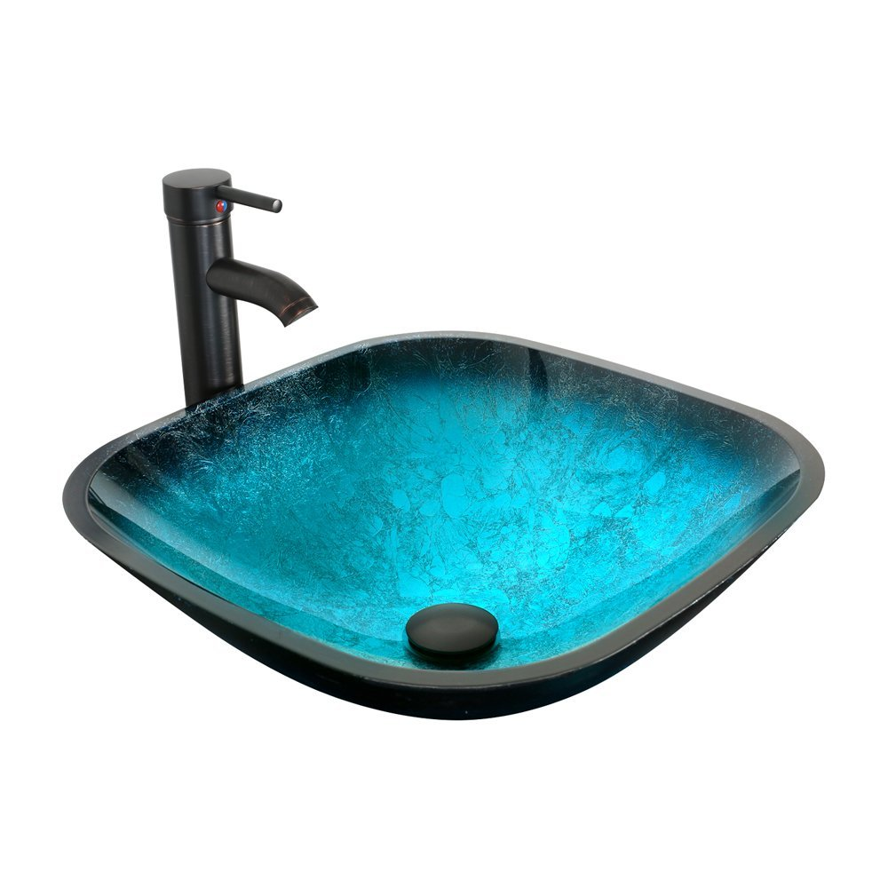 U-Eway Turquoise Square 16.5''x 5.5'' Glass Vessel Bathroom Sink Combo with Oil Rubbed Bronze Faucet, 1.5 GPM Pop Up Drain,Mounting Ring, Match Kinds of Vanities on the Countertop,Blue Gradient Design