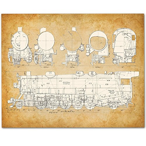 USRA Light Santa Fe Steam Railroad Locomotive Train Art Print - 11x14 Unframed Patent Print - Great Gift for Railfans Usra Light