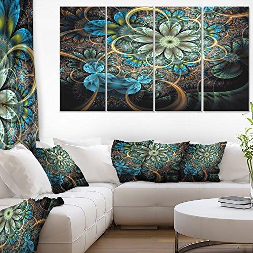 Designart Lighted Blue Fractal Blue Flowers Floral on Art