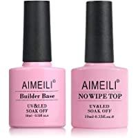 AIMEILI No Wipe Top Coat and Builder Base Coat Set Soak Off UV LED Gel Nail Polish - 2 x 10ml