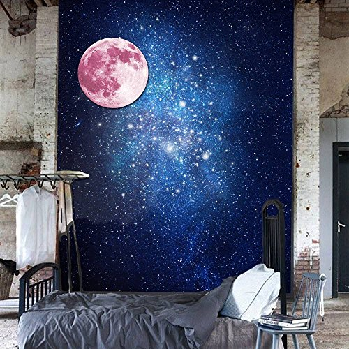 dipshop 30cm Pink Large Moon Wall Sticker Removable Glow In The Dark Luminous Stickers H