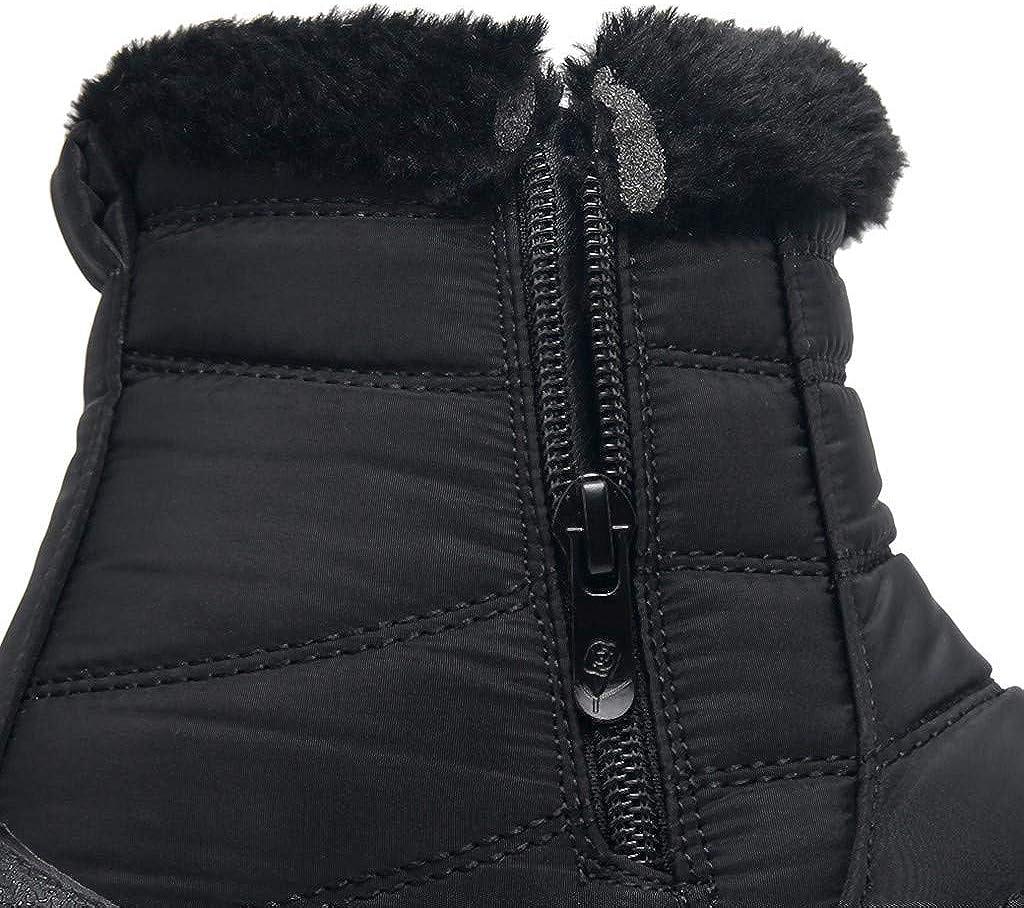 Bazhahei Bottes De Neige Femme Hiver Chaude Bottines Pluie Imperméable Chaussures Ville Talons Plats Zippé Intérieur Fourrée Noir