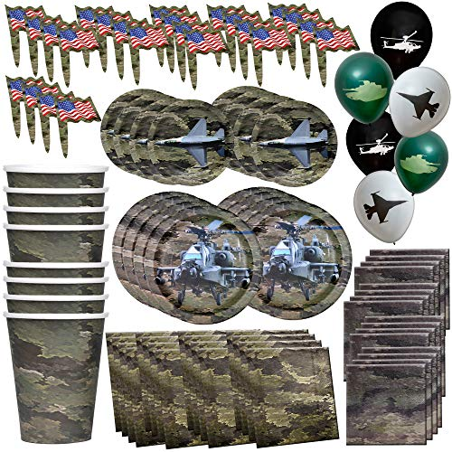 Havercamp American Heroes Party Bundle | Luncheon & Beverage Napkins, Dinner & Dessert Plates, Balloons, Cups, Party Picks | Great for Reunions, Patriotic Party, Veterans Celebration