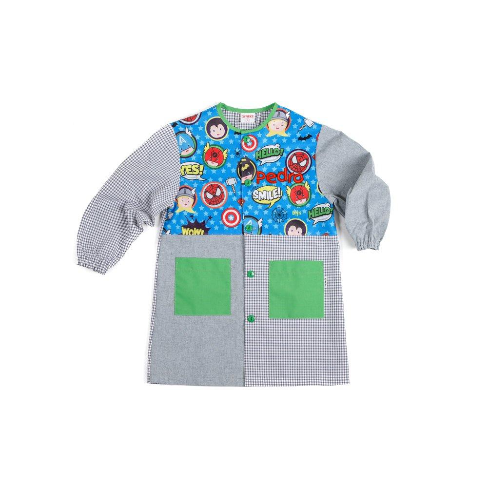 Dyneke Bata escolar botón Heroes Atómicos (personalización opcional gratuita con nombre bordado) (Talla 4): Amazon.es: Ropa y accesorios