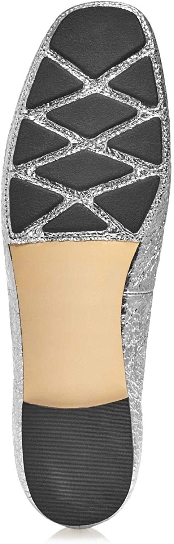 Tory Burch Laila 2 Driver Ballet Flats Crinkle Metallic Silver Size 7.5
