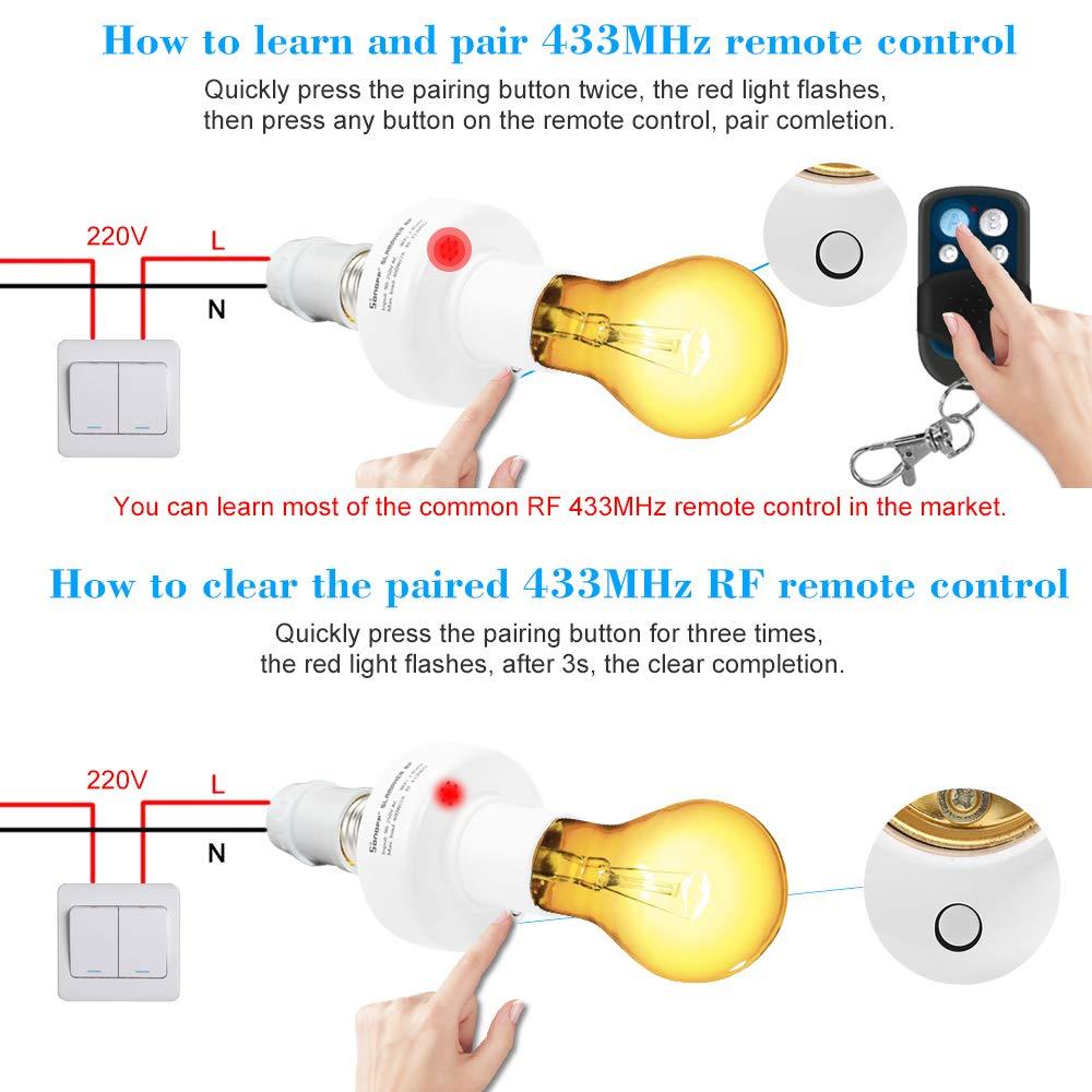 Sonoff ITEAD Portalampada WiFi Smart Luce Porta lampadina 433MHz RF E27 Wireless Funziona con  Alexa /& per Google Home//Nest per Smart Home