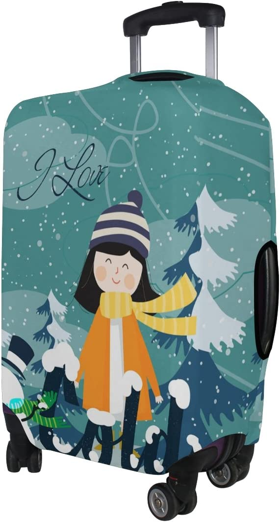 Luggage Protective Covers with Cartoon Winter Snowman Washable Travel Luggage Cover 18-32 Inch