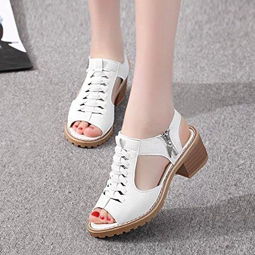 t 35 Blanc Fond Taiwan Poisson Sauvage Chaussures Tendon Infrieur Plates Sandales Ct Nez Viande Rtro Femme Impermable TIwanZ