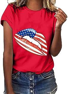 HIRIRI Ladies O-Neck Stylish Solid Lips Independence Day Victory Print Short Sleeve T-Shirt