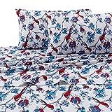 Tribeca Living 170 Gsm Bird Park Printed Deep Pocket Flannel Sheet Set, King