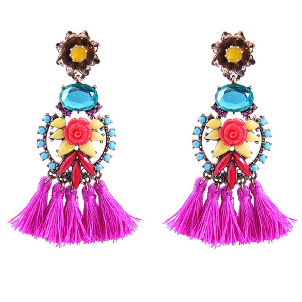 Tassel Earrings Long Gold Silver Boho Dangle Drop Earrings (Blue-fuchsia) by Manufac (Image #1)