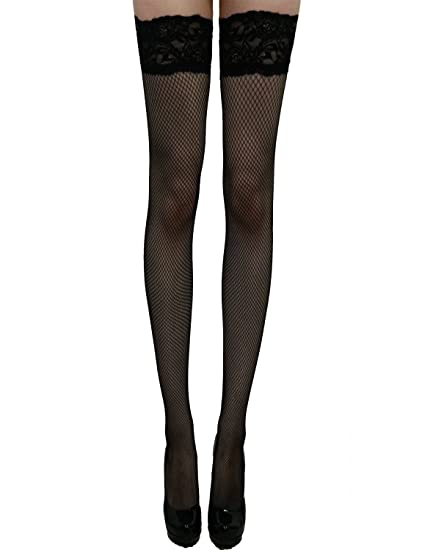 84aa291e4b5 Yummy Bee Stockings for Suspenders Fishnet Plus Size Black White Net ...
