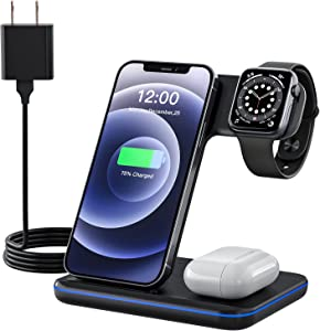 Wireless Charger, 3 in 1 Fast Charging Stand Compatible with iPhone 12/12 Pro/11/X/XS/XR/8/Plus, Qi-Certified Wireless Charging Station for Apple Watch 1/2/3/4/5/SE/6, AirPods Pro/2, QC 3.0 Adapter