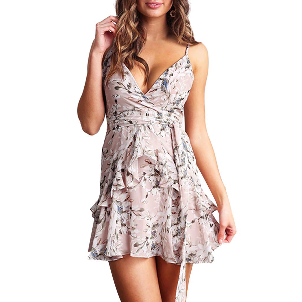Women's Cute Floral Off Shoulder Ruffle Sleeve Boho Vacation Mini Dress with Belt(Pink,XL)