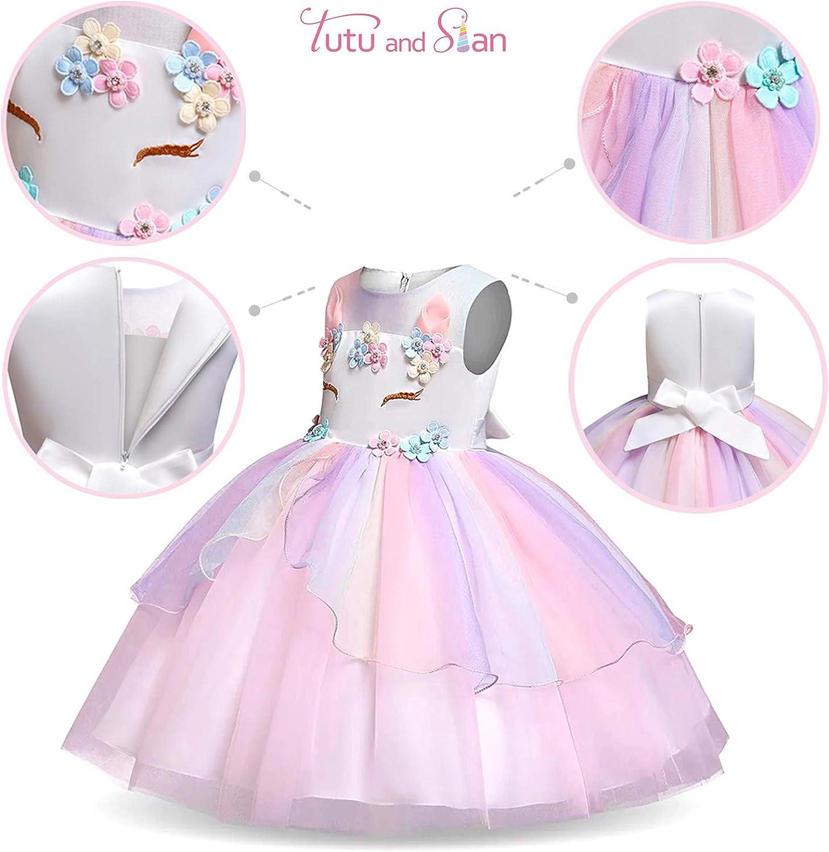 Jewelry Unicorn Costume and Satin Sash Headband Rainbow Unicorn Outfit for Girls