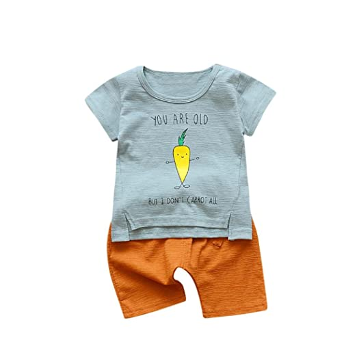 1697dc1c0 Amazon.com: DIGOOD For 0-3 Years Old, Toddler Baby Boys Letter Turnip Print  T-Shirt Tops+Short Pants, Kids 2Pcs Fashion Outfits Clothes: Clothing