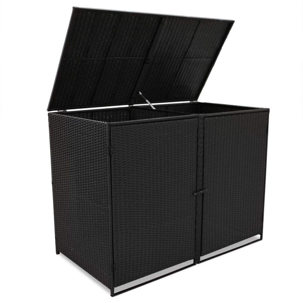 Outdoor Wheelie Storage Shed for Garbage, Garden Tools, Fire Wood, Bin Shed Poly Rattan Black 58.3''x31.5''x43.7''