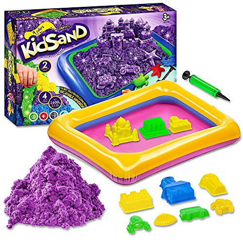 Kidsand 3.5 lbs - Magic 4 Color Sand - 8 Shaping Molds for Play Sand - Sand for Children with Kinetic Properties - Kids Sand for Indoor Playing - Sand Kit for Kids - Box for Developing Sand