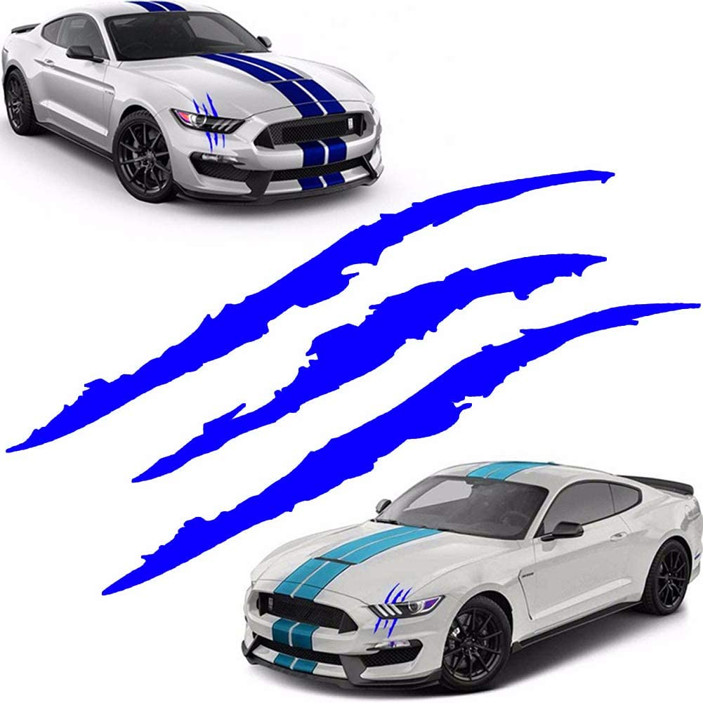 Blue KE-KE Claw Marks Decal Reflective Sticker Waterproof Headlight Decal Vinyl Sticker Decal for Sports Cars 2PCS