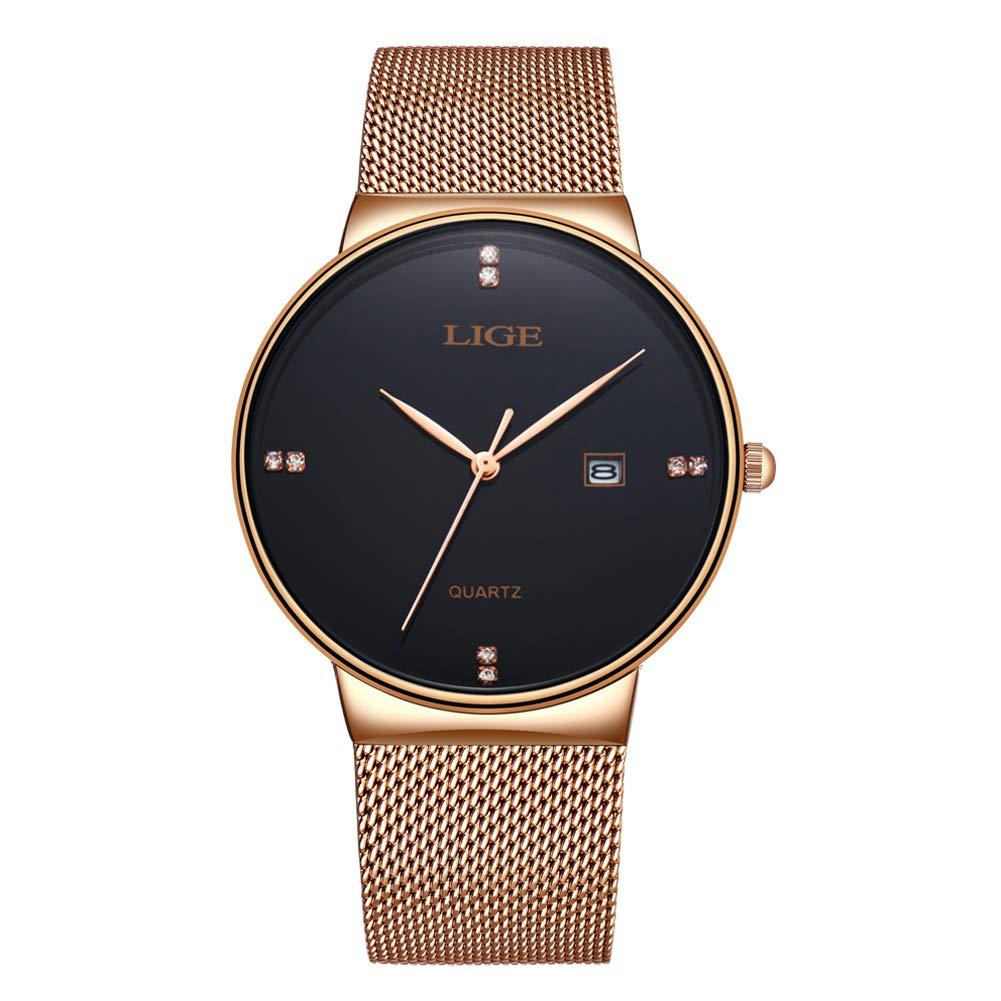 Reloj analógico de Cuarzo Impermeable para Hombres LIGE Cronógrafo Luminoso de Acero Inoxidable