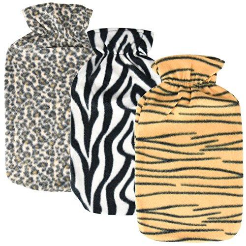 Asab Bouillotte avec housse en tricot doux et chaud Cosy Touch Large s'Adaptera Contenance de 2litre Gourde Zebra Tigre Motif léopard d'impression–aléatoire