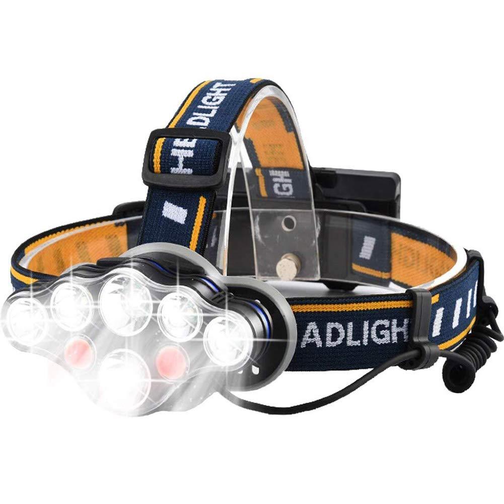YFQH Scheinwerfer-LED-Taschenlampe wiederaufladbar super helle 8-Modus 6000 Lumen verstellbare Scheinwerfer im Freien Camping