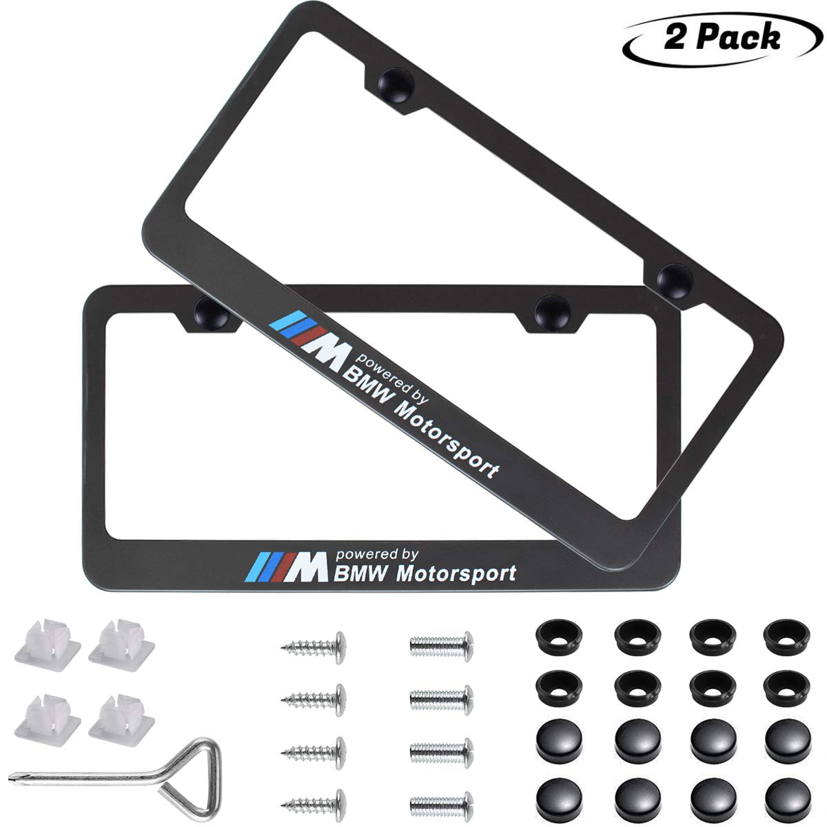 Amazon com 2pcs m sports motorsport logo license plate frame frameapplicable to us standard car license frame for bwm motorsport automotive