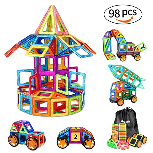 98 PCS Magnetic Blocks with Wheels,Magnetic Building Set,Magnetic Tiles for Kids Toddlers (Kids Building Magnetic)