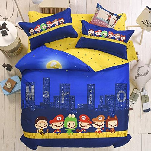"KFZ Postman Blue Color Queen Size Bed Set [4pcs Bedding – 80"" X 90"" Duvet Cover, Flat Sheet, Pillow Cases. No Comforter] Cartoon Theme, Quality Microfiber, Soft, Kids Safe"