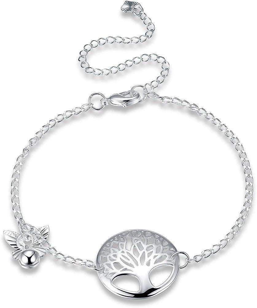 fashionbeautybuy Women Bell Butterfly Tree Ankle Bracelet Silver Plated Jewelry Barefoot Sandal Beach Foot Chain