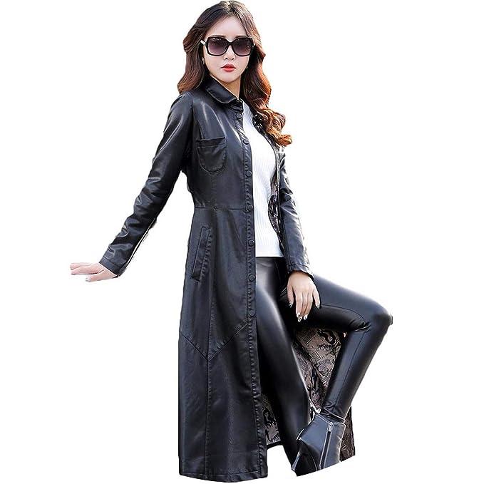 c90ffee00397 Leather Jackets Women Faux Leather Coat Winter X-Long Leather ...