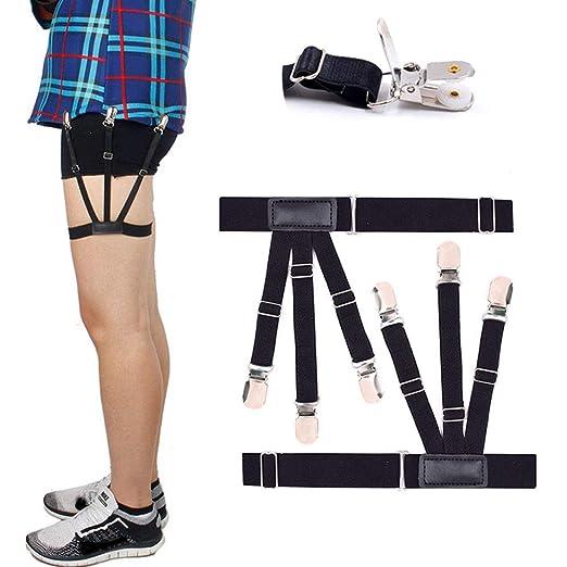 Mantieqingway Suspenders Women Men Shirt Stays Holders Elastic Garter Belt Suspender Locking Clamp Black Top Shirt Suspenders Men's Suspenders Men's Accessories