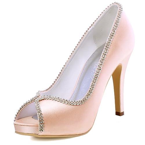 ElegantPark EP11083-IP Women High Heels Rhinestones Peep Toe Pumps Satin Bridal Party Court Shoes
