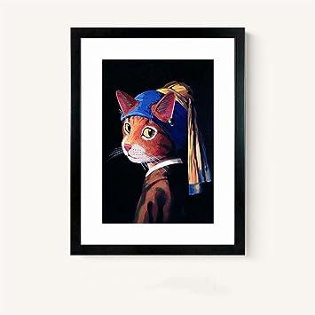 Gatos de concha y serie de pinturas famosas. Cuadros de pinturas de decoración de salón (33 * 43cm), f: Amazon.es: Hogar