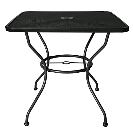 BaoChen 30u0026quot; Outdoor Patio Table   Square Steel Dining Table Bistro  Table For Backyard Lawn