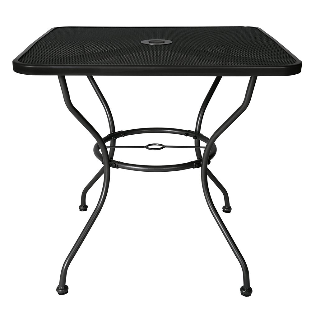 BaoChen 30'' Outdoor Patio Table - Square Steel Dining Table Bistro Table for Backyard Lawn Balcony Pool Deck with Umbrella Hole (Ash Black)