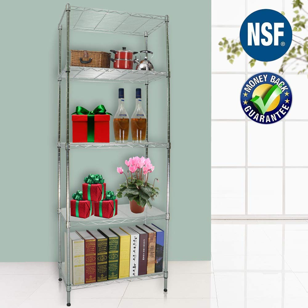 5 Tier Wire Shelving Unit Storage Shelves Bathroom Adjustable Metal Shelf Industrial NSF Wire Shelf Rack Organizer Commercial Stainless Steel Shelving for 450LBS Capacity, 21.2''W x 11.4D x 59H Chrome