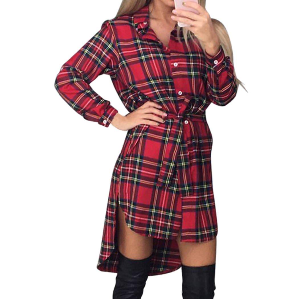 XWDA Plaid Dress Women Casual Long Sleeve Lattice Shirt Dress with Belt 2459
