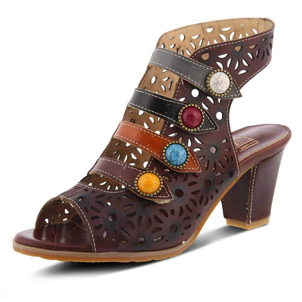 L'Artiste by Spring Step Women's Style Alaina Chocolate Brown EURO Size 40 Leather Sandal