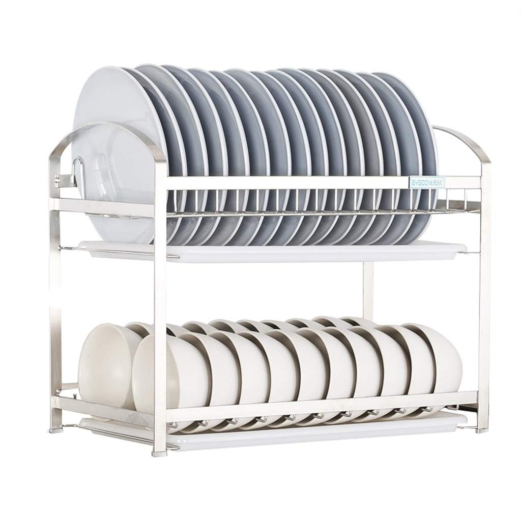 PM-Shelf Silver Wall-Mounted Double Stainless Steel Kitchen Storage Storage Rack Cutlery Drain Rack Multi-Function Storage Rack (Size : 45cm)