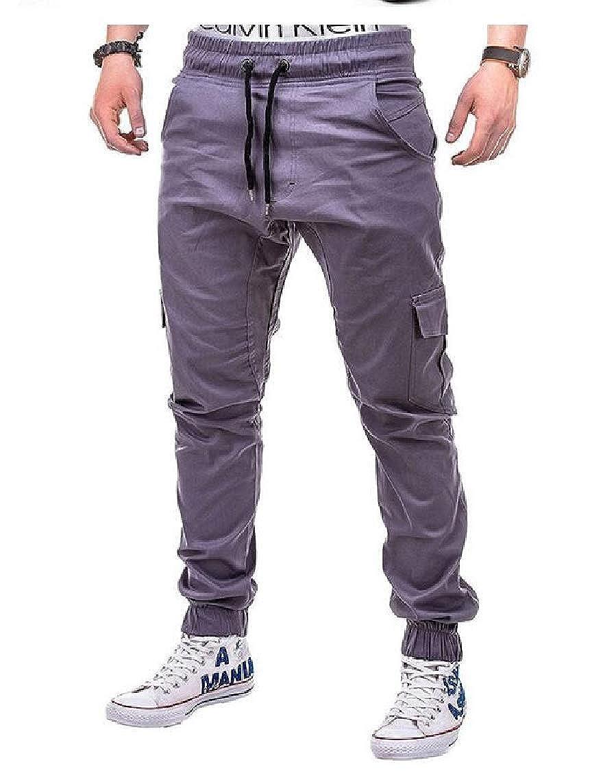 Lutratocro Men Jogging Cotton Solid Slim Elastic Waist Sports Pants