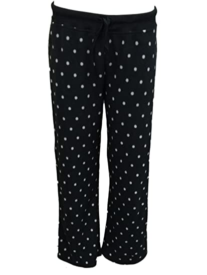 Soft Sensations Womens Black Polka Dot Fleece Sleep Pants Pjs Pajama  Bottoms S ebcbf9808