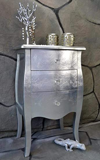 Livitat Kommode Mit 3 Schubladen H76 Cm Pomp Silber Barock Antik