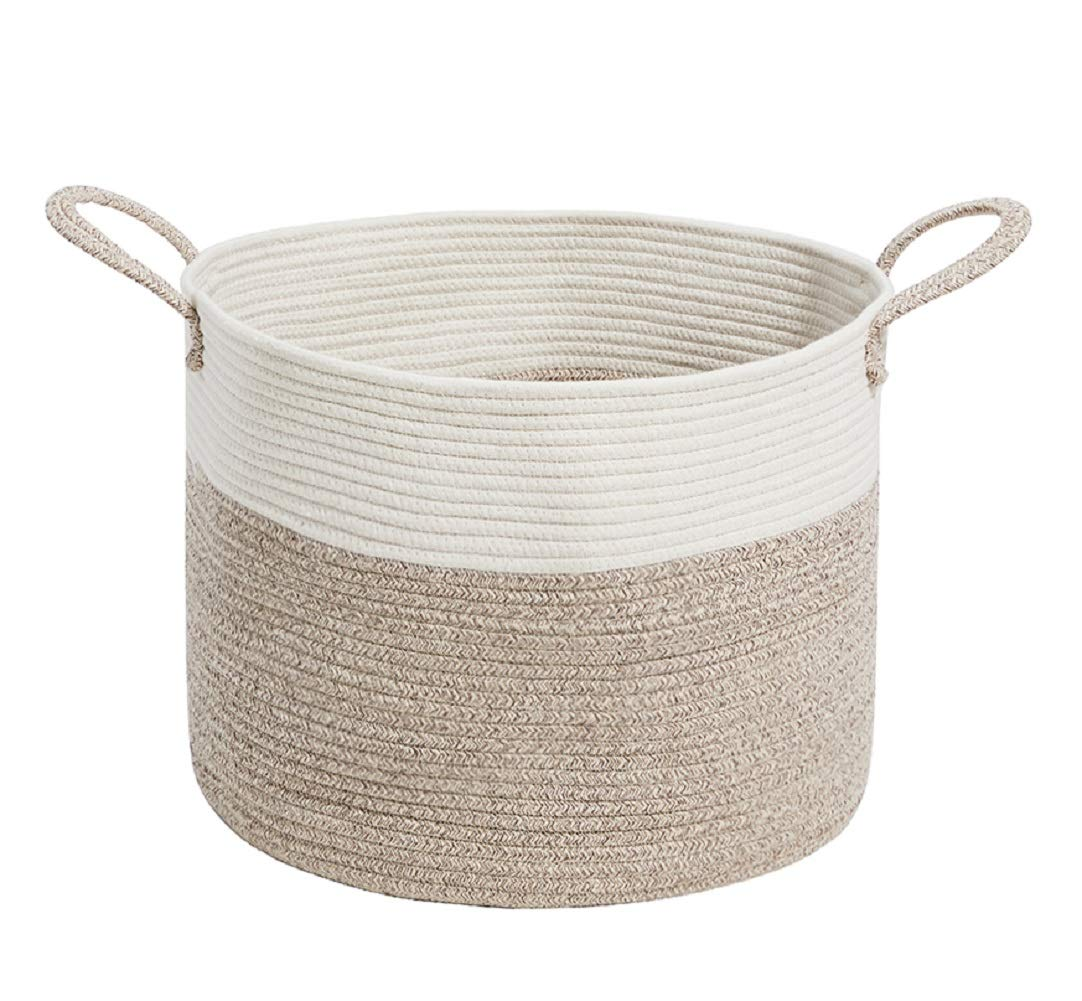 HanShoo Woven Storage Basket | Extra Large Cotton Rope Basket with Long Handles | Decorative Storage Bins for Storage Clothes, Blanket,Toy by HanShoo