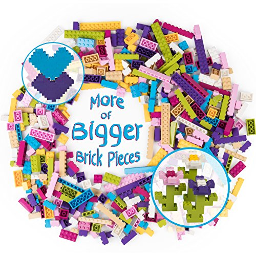 SCS Direct Building Bricks - 500 Pc Big Bag of Bricks Bulk Pastel Friends-Colored Blocks with 27 Roof Pieces - Tight Fit with All Brands -