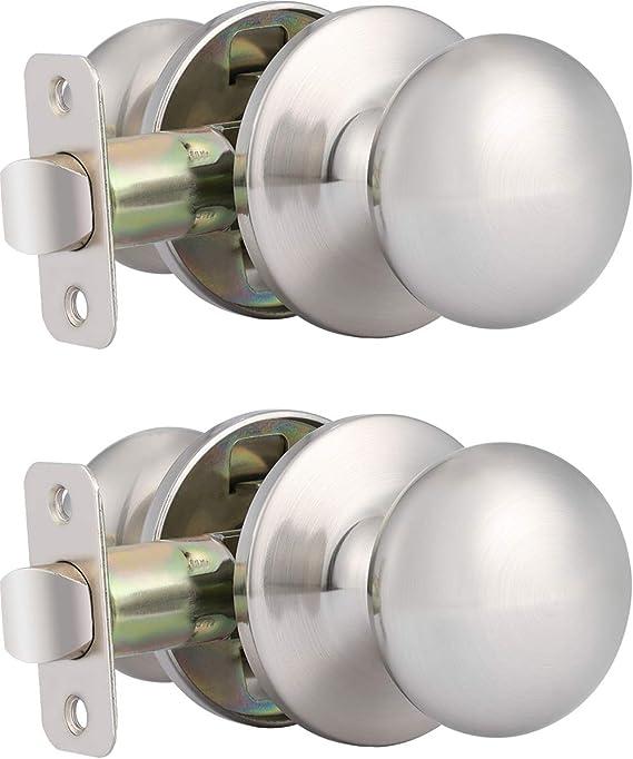 Details about  /Cylindrical Lock Door Knob Passage Lockset Hardware Satin Chrome Finish