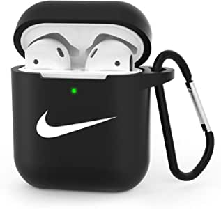Case for Airpods Case - Upgrade AirPods Case Cover Silicone Skin Protective Airpods Accessories for Apple Airpods 2 & 1 Charging Case with Anti-Lost Carabiner Black (Front LED Visible)