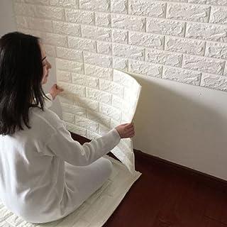 10 piezas 30x60cm Papel pintado de la espuma 3D DIY Wall Stickers Decoración de la pared Piedra de ladrillo en relieve Pared Autoadhesivo Panel Pared Impermeable del hogar DIY Decoración Blanco ZAIQUN